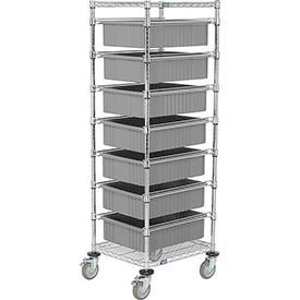 "21X24X69 Chrome Wire Cart With 7 6""H Grid Containers Gray"