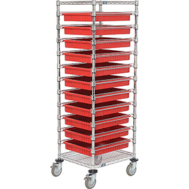 """21X24X69 Chrome Wire Cart With 11 3""""H Grid Containers Red"""