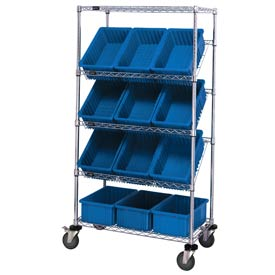 "Quantum MWRS-5-92035 Chrome Wire Truck With 12 3-1/2""H Grid Containers Blue, 36""L x 18""W x 63""H"