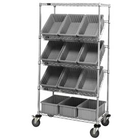 "Quantum MWRS-5-92035 Chrome Wire Truck With 12 3-1/2""H Grid Containers Gray, 36""L x 18""W x 63""H"