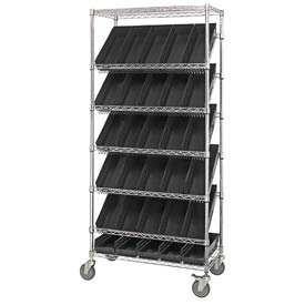 "Quantum MWRS-7-104 Chrome Wire Truck With 30 4""H Shelf Bins Black, 36""L x 18""W x 74""H"