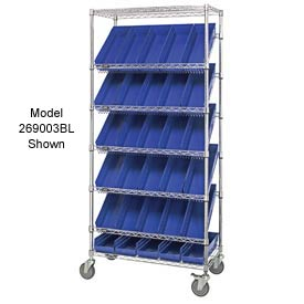 "Quantum MWRS-7-108 Chrome Wire Truck With 24 4""H Shelf Bins Blue, 36""L x 18""W x 74""H"