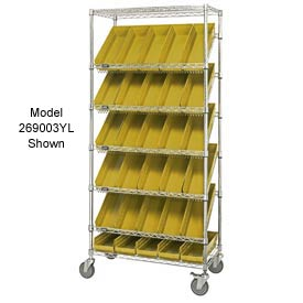 "Quantum MWRS-7-110 Chrome Wire Truck With 18 4""H Shelf Bins Yellow, 36""L x 18""W x 74""H"