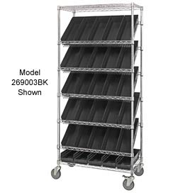 "Quantum MWRS-7-110 Chrome Wire Truck With 18 4""H Shelf Bins Black, 36""L x 18""W x 74""H"