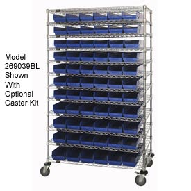 "Chrome Wire Shelving with 91 4""H Plastic Shelf Bins Blue, 48x24x74"