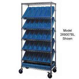 "Quantum MWRS-7-604 Chrome Wire Truck With 54 4-5/8""H Plastic Drawers Blue, 36""L x 18""W x 74""H"