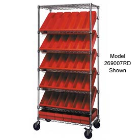 "Quantum MWRS-7-604 Chrome Wire Truck With 54 4-5/8""H Plastic Drawers Red, 36""L x 18""W x 74""H"