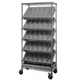 "Quantum MWRS-7-602 Chrome Wire Truck With 36 4-5/8""H Plastic Drawers Gray, 36""L x 18""W x 74""H"