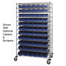 "Chrome Wire Shelving with 66 4""H Plastic Shelf Bins Blue, 48x24x74"
