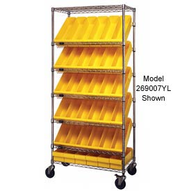 """Quantum MWRS-7-606 Chrome Wire Truck With 24 4-5/8""""H Plastic Drawers Yellow, 36""""L x 18""""W x 74""""H"""