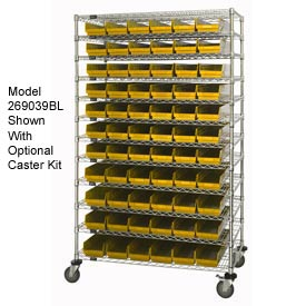 "Chrome Wire Shelving with 66 4""H Plastic Shelf Bins Yellow, 48x18x74"