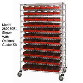 "Chrome Wire Shelving with 66 4""H Plastic Shelf Bins Red, 48x18x74"