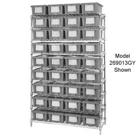 "Chrome Wire Shelving With 12 10""H Nest & Stack Shipping Totes Gray, 72x24x63"