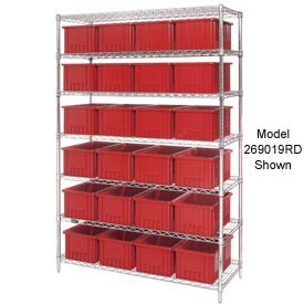 "Chrome Wire Shelving With 36 6""H Grid Container Red, 48x18x74"