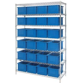 """Chrome Wire Shelving With 24 8""""H Grid Container Blue, 48x18x74"""