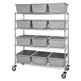 "Quantum MWR4-2419-9 Mobile Chrome Wire Truck With 12 9-1/2""H Nesting Totes Gray, 60""L x 24""W x 69""H"