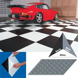 "Vinyl Tile Matting With Adhesive 12""x12"" Diamond Pattern Black case of 20"