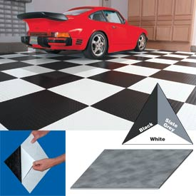 "Vinyl Tile Matting With Adhesive 24""x24"" Levant Pattern Black Case of 10"