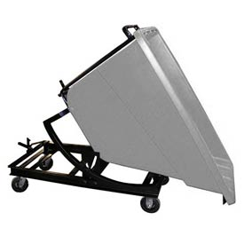 Bayhead Gray Plastic Self-Dumping Forklift Hopper 5/8 Cu Yd with Caster Base