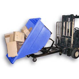 Bayhead Blue Plastic Self-Dumping Forklift Hopper 1.1 Cu Yd with Caster Base