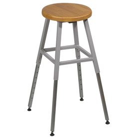 Lab Stool - Wood - Adjustable Height - Gray