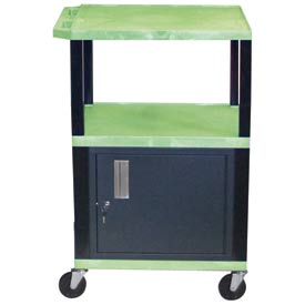 H. Wilson WT42C2 Green Tuffy Garage & Shop Utility Cart with Cabinet 250 Lb. Cap.