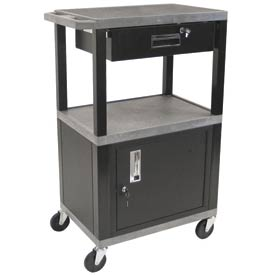 H. Wilson WT42C2-B/WTD Gray Tuffy Garage & Shop Utility Cart with Cabinet & Drawer 250 Lb.