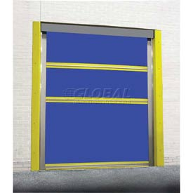 TMI Spring-Loaded Roll-Up Bug Dock Door with PVC Coated Blue Vinyl Panels 8 x 8