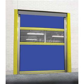 TMI Motorized Roll-Up Dock Door PVC Coated Blue Vinyl Panels & Vision Panel 10x10
