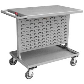 """Jamco Steel Mobile Double Sided Bin Rack RA236-N8 - All-Welded with Top Shelf 36"""" x 39"""", 8"""" Casters"""