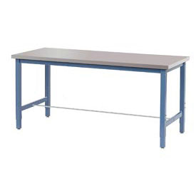 "48""W x 30""D Production Workbench - Stainless Steel Square Edge - Blue"
