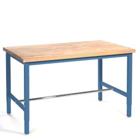 "72""W x 36""D Production Workbench - Maple Butcher Block Safety Edge - Blue"