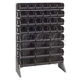 "Quantum QRU-12S-220-96CO Single Sided Floor Rail Rack w/ 96 7-3/8""D Conductive Bins, 36x15x53"