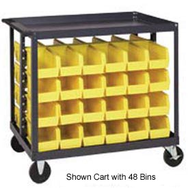 "Quantum QRC-4D-210-64 1/2 Mobile Bin Cart With 64 5-3/8""D Stacking Bins Yellow, 36"" x 24"" x 35-1/2"""