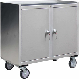 Jamco Stainless Steel Mobile Cabinet YZ136 2 Doors & Middle Shelf 36x18 1200 Lb.