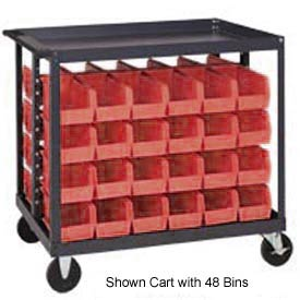 "Quantum QRC-4D-235-24 1/2 Mobile Bin Cart With 24 10-7/8""D Stacking Bins Red, 36""L x 24""W x 35-1/2""H"