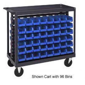 "Quantum QRC-7D-200-96 1/2 Mobile Bin Cart With 96 5""D Stacking Bins Blue, 36""L x 18""W x 35-1/2""H"