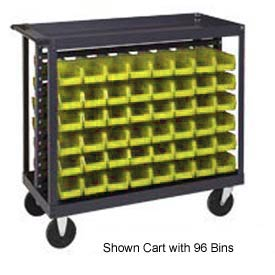 "Quantum QRC-7D-200-96 1/2 Mobile Bin Cart With 96 5""D Stacking Bins Yellow, 36""L x 18""W x 35-1/2""H"
