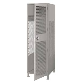 Pucel All Welded Gear Locker With Door And Legs 24x18x72 Gray