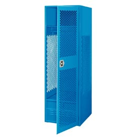 Pucel All Welded Gear Locker With Door And Foot Locker 24x18x72 Blue