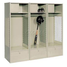 Pucel All Welded 3 Wide Gear Locker With Foot Locker Top Shelf Cabinet 24x18x72 Putty