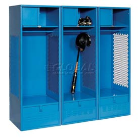 Pucel All Welded 3 Wide Gear Locker With Foot Locker Top Shelf Cabinet 24x18x72 Blue