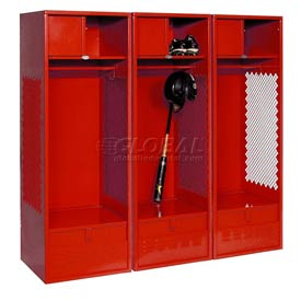 Pucel All Welded 3 Wide Gear Locker With Foot Locker Top Shelf Cabinet 24x18x72 Red