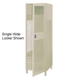 Pucel All Welded 3 Wide Gear Locker With Door Foot Locker And Legs 24x18x72 Putty