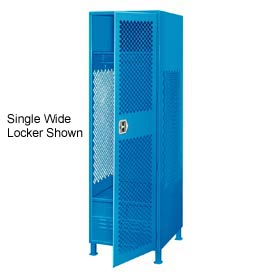 Pucel All Welded 3 Wide Gear Locker With Door Foot Locker And Legs 24x18x72 Blue