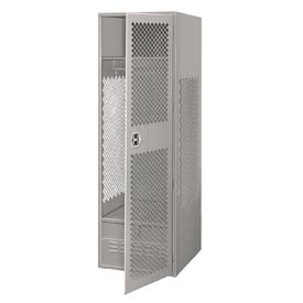 Pucel All Welded Gear Locker With Door And Foot Locker 24x24x72 Gray