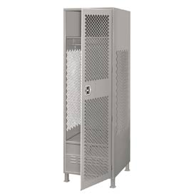 Pucel All Welded Gear Locker With Door Foot Locker And Legs 24x24x72 Gray