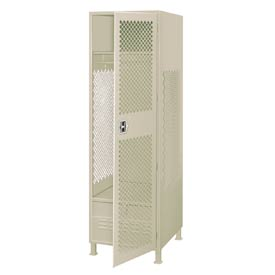 Pucel All Welded Gear Locker With Door Foot Locker And Legs 24x24x72 Putty