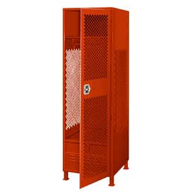 Pucel All Welded Gear Locker With Door Foot Locker And Legs 24x24x72 Red