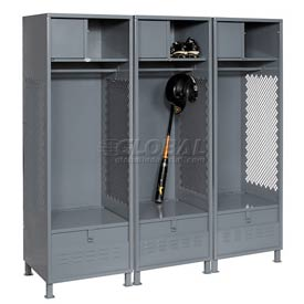 Pucel All Welded 3 Wide Gear Locker With Foot Locker Top Shelf Cabinet &Legs 24x24x72